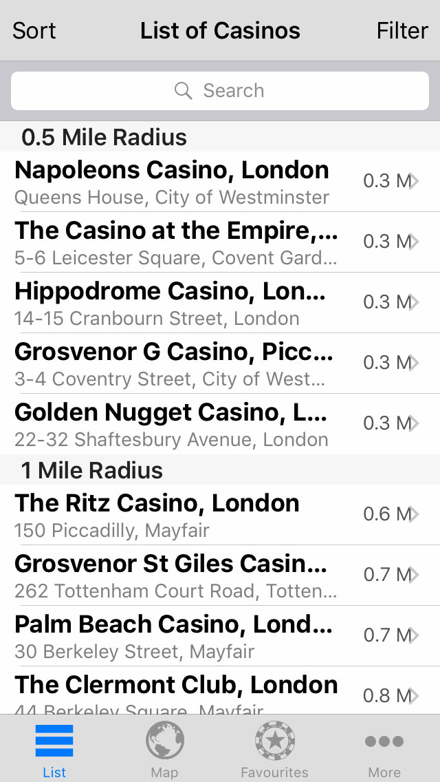 View casinos by distance from your current location