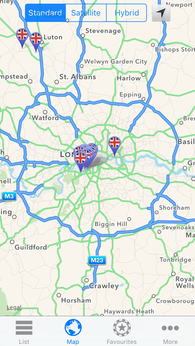 See all casinos in the local area in Map View